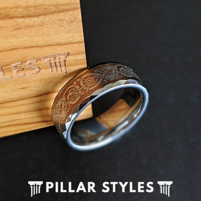6mm Viking Wedding Band Brown Tungsten Ring, Norse Ring Bands Women Couples Set Silver Celtic