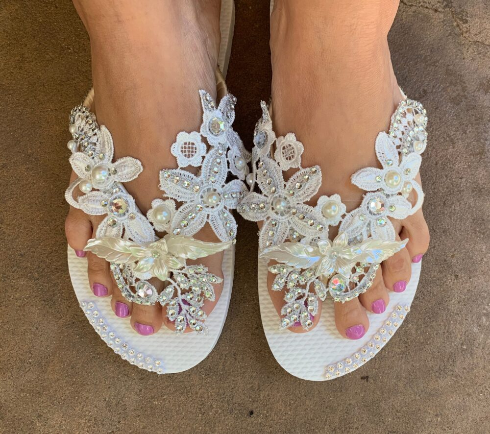 Ivory Lace Bridal Flip Flops, Wedding Beach Shoes, Deluxe Olivia Boho Pearl Custom Sandals For Destination