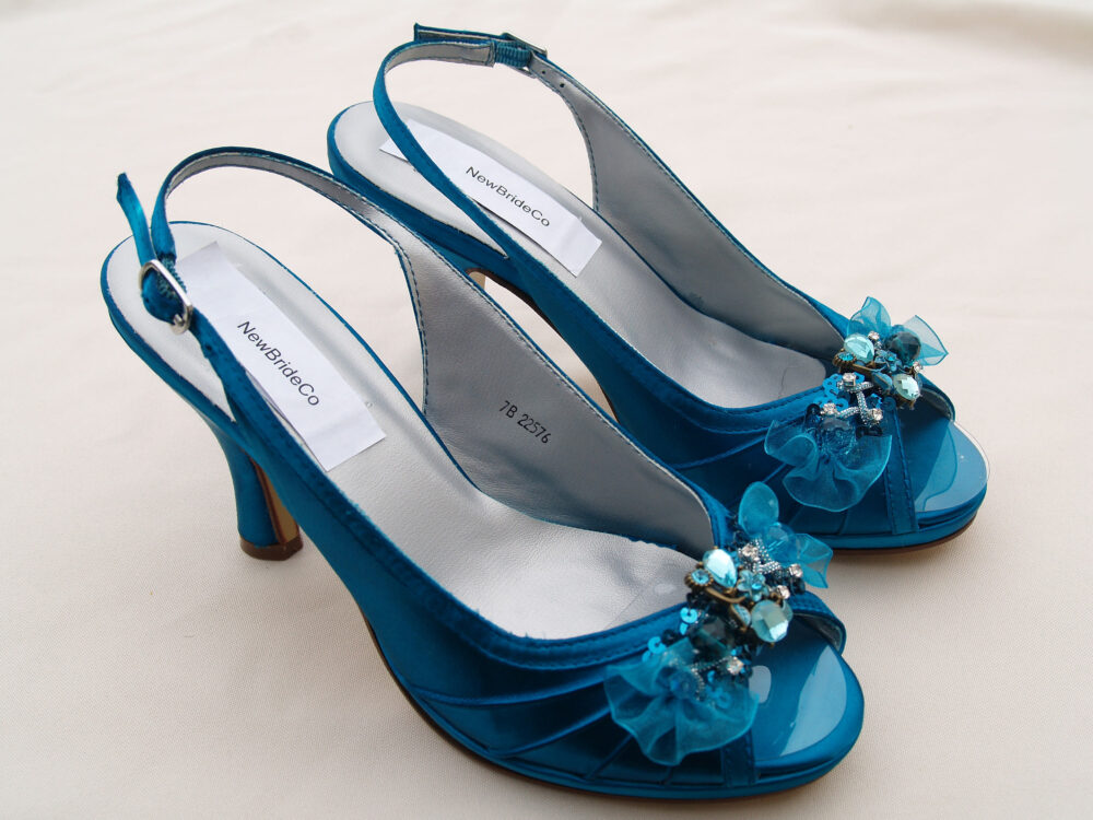 Size 7 Teal Shoes Wedding, Peacock Comfortable Satin Heels, Hand Embellished Organza Flowers & Beads, Slingback, Open Peep Toe, Ready To Ship