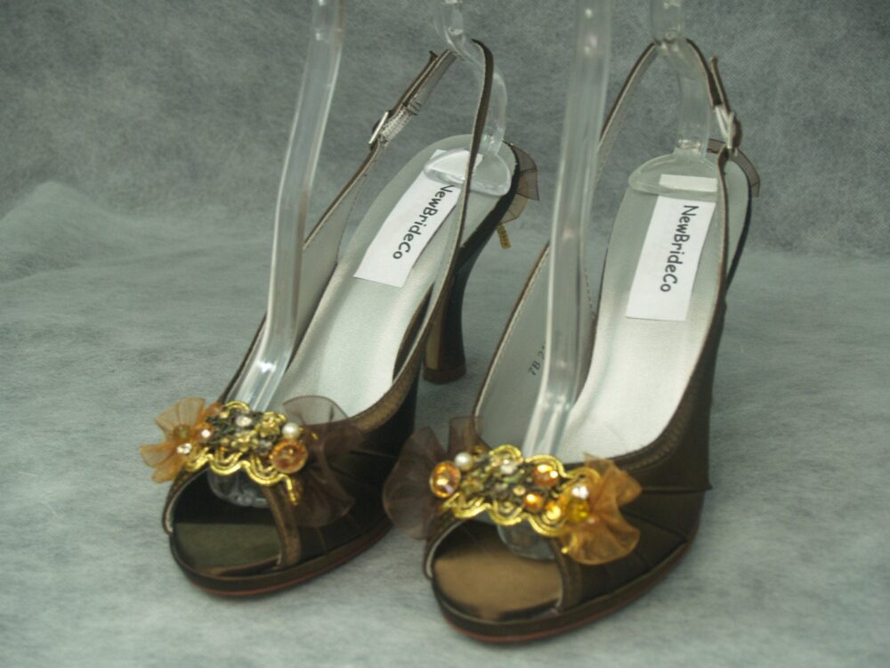 Brown Gold Shoes Wedding Medium Confortable Heel With Gold Tones - Tones Hand Embellished Bridal Shoes, Chocolate, Gold, Open Toe Sling