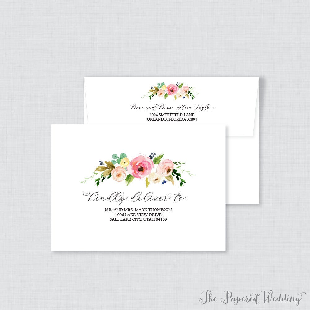 Wedding Envelopes - With Pink & Yellow Flowers Calligraphy, Name Address, Custom Printed 0011