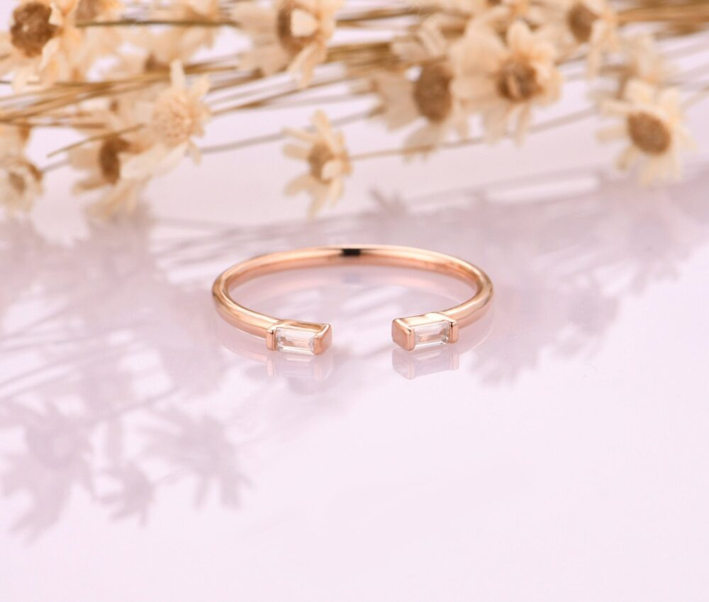 18K Rose Gold Bridal Rings/ Daitny Promise Ring/ Minimalist Stackable Simulated Diamond Matching Band Anniversary Gift Rings
