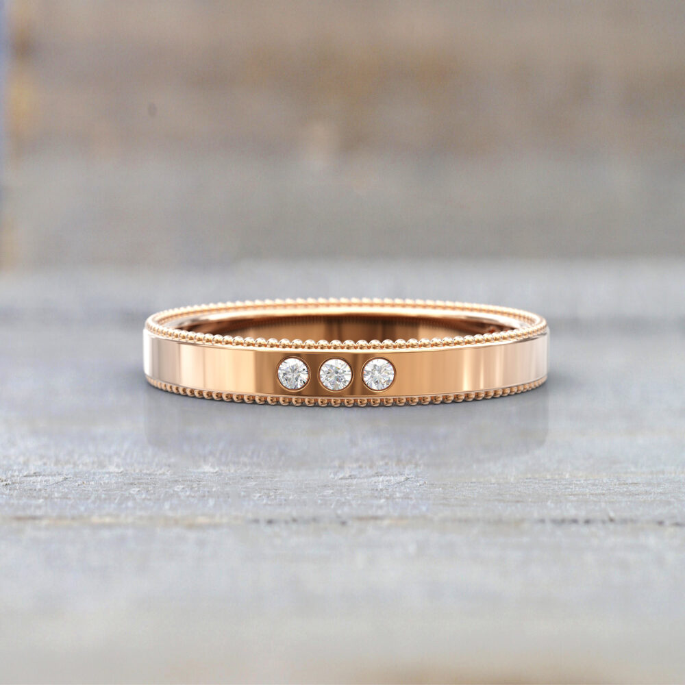 Wedding Bands Women Full Eternity Ring Anniversary Gift Art Deco Bridal Jewelry 14K Rose Gold Diamond Ring Stackable Unique Thin
