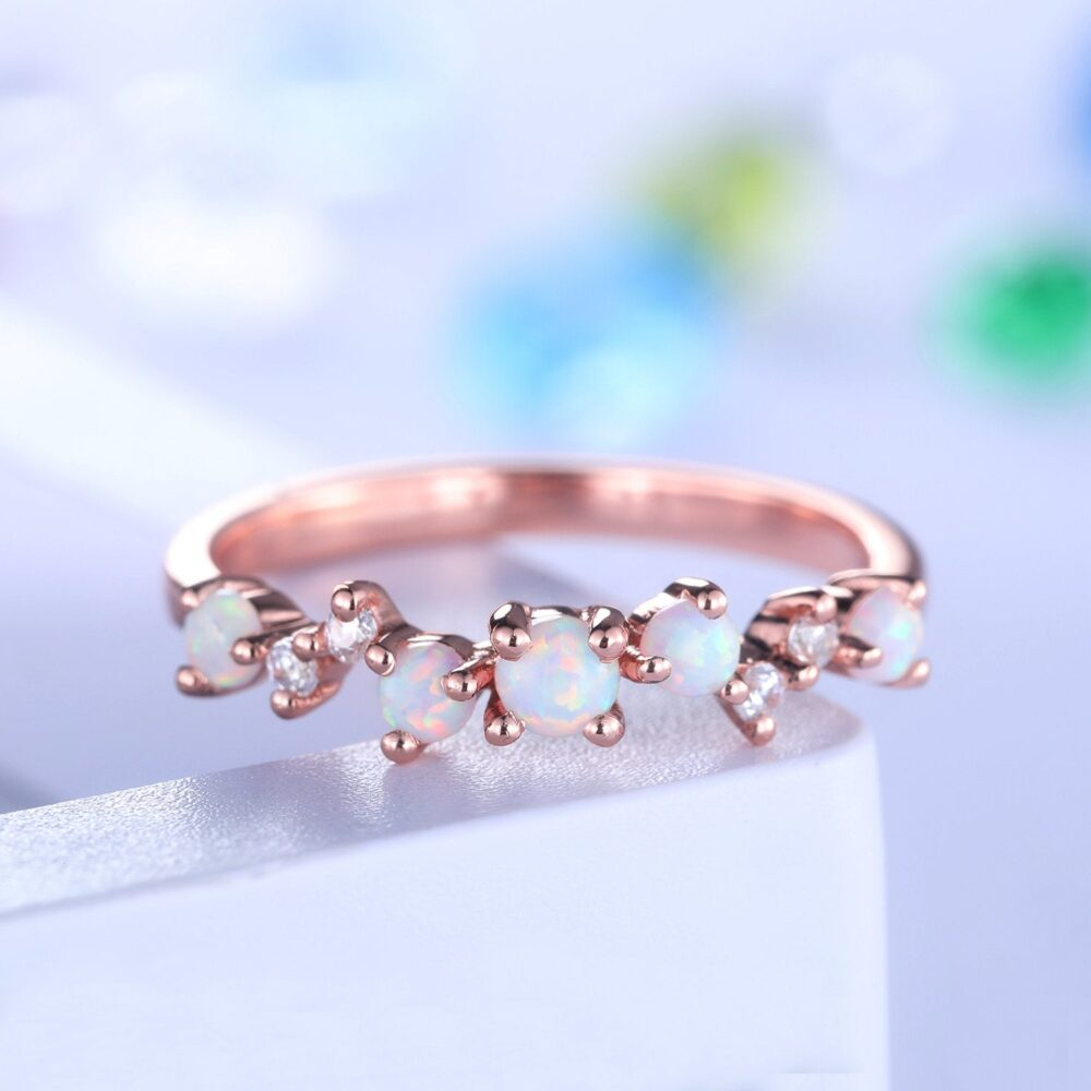 Unique Opal Wedding Band Rose Gold Diamond Ring For Women Stacking Matching Promise Bridal Anniversary Gift