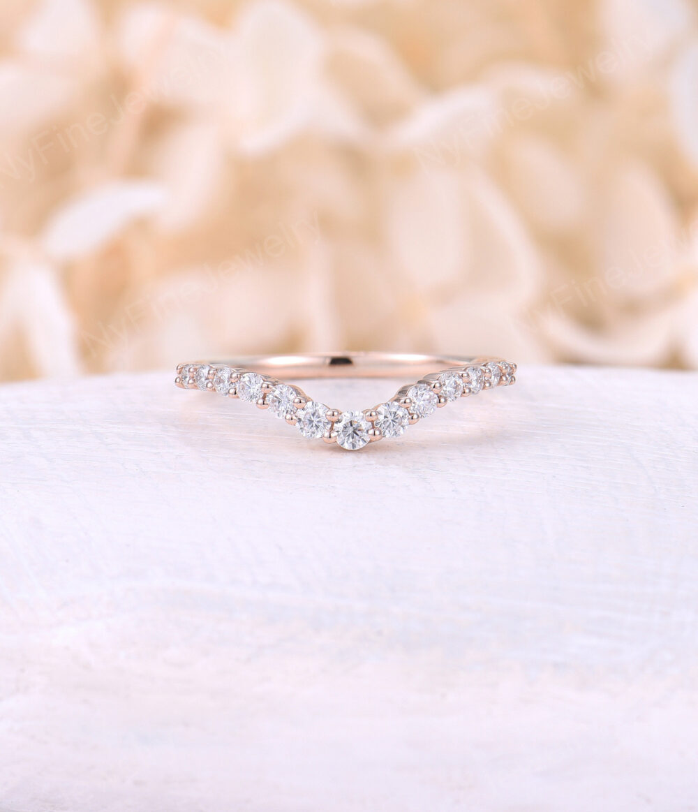 Curved Moissanite Wedding Band Rose Gold Diamond Ring Art Deco Unique Chevron Bridal Anniversary Wave Matching Stacking