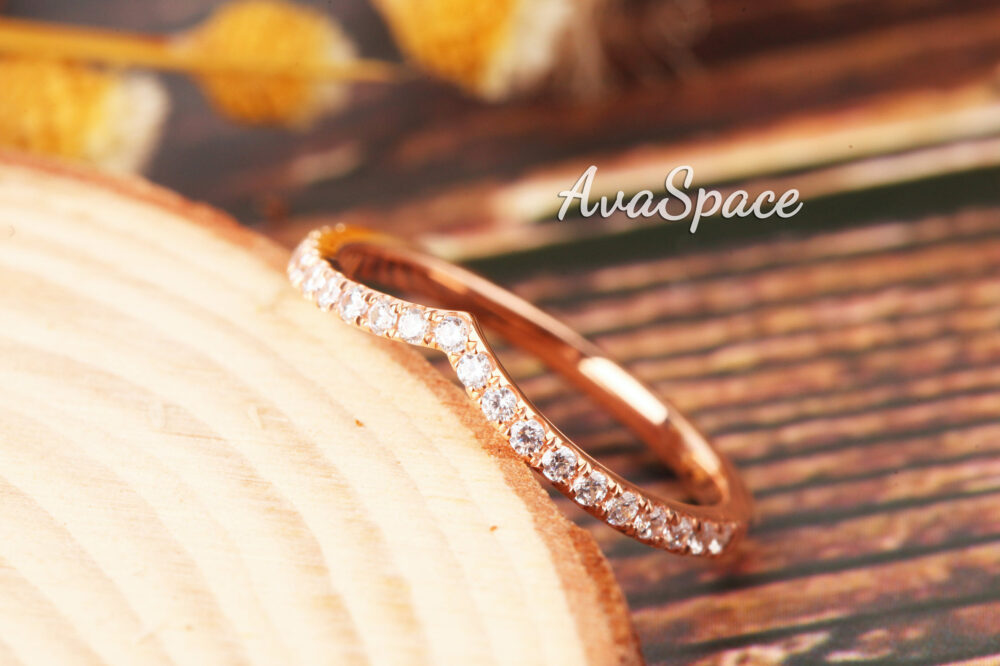 Curved Diamond Wedding Ring 14K Rose Gold Band Rings For Women Dainty Bridal Stacking Unique Promise