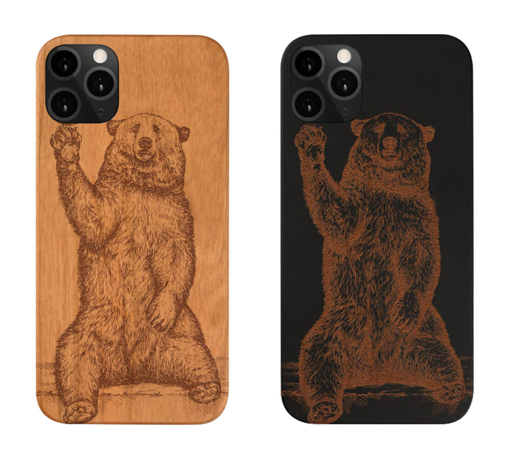 Google Pixel 4A , 4 Xl Grizzly Bear Wood Phone Case Samsung S20 Note 20 Plus, Engraved Personalized , Best Gift For Couples