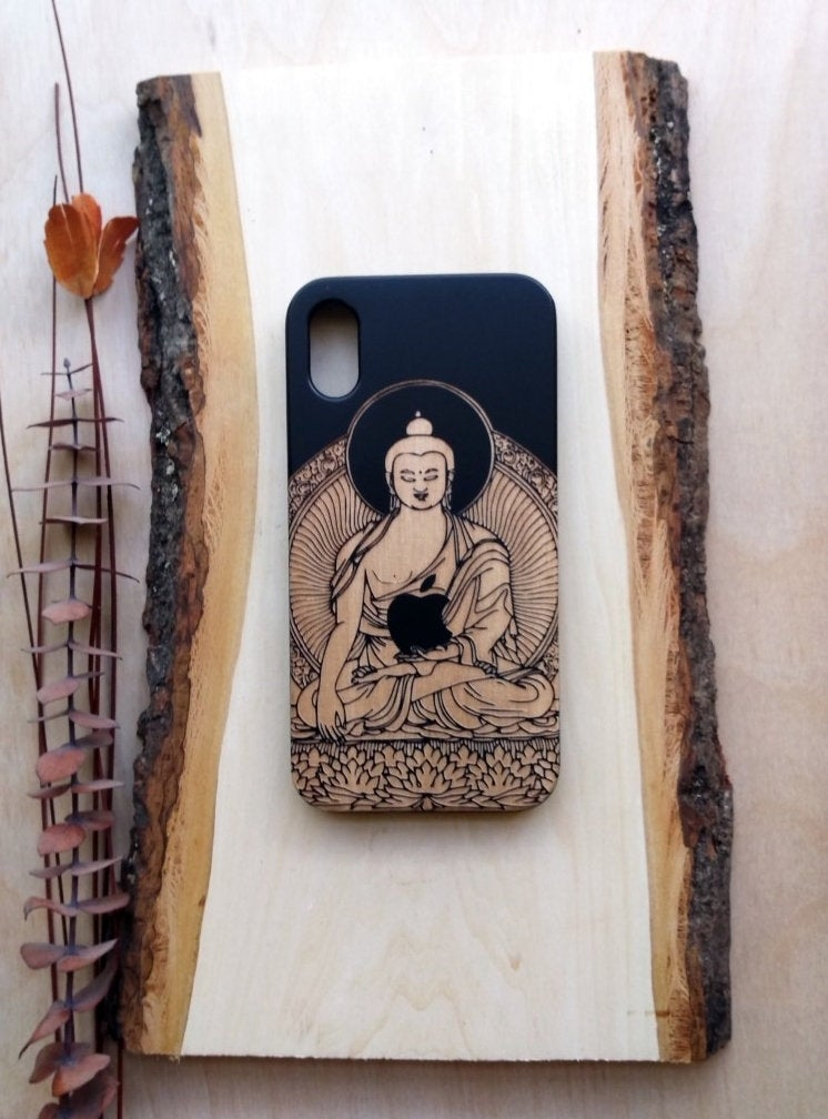 Buddha Design Wooden Phone Case Personalized Gift For Him Custom Engraved Iphone 11 Pro Max 6 7 8 Plus X Xr Max Birthday