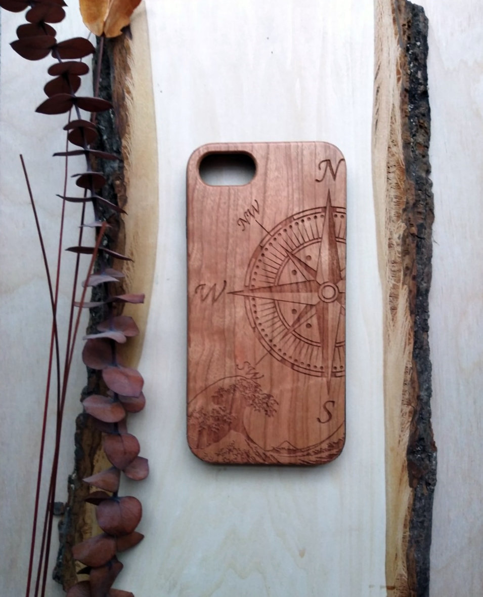 Compass Design Wooden Phone Case Personalized Gift For Him Her Custom Engraved Iphone 11 Pro Max 6 7 8 Plus X Xr Xs Max