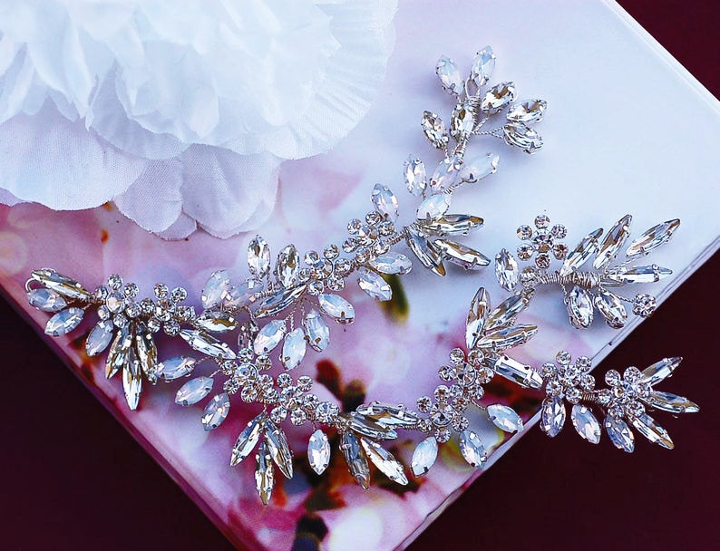 Bridal Wedding Headpiece Party Crystal Jewelry Silver Brides Accessories Hair Comb Head Piece Hairpiece Gift Weddings Floral Accessory
