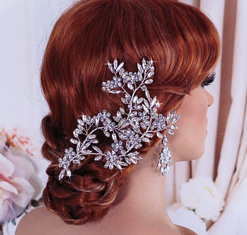 Bridal Hair Vine, Wedding Headpiece, Party Comb, Crystal Jewelry, Silver Head Piece, Gift Weddings Floral Brides Accessories Accessory