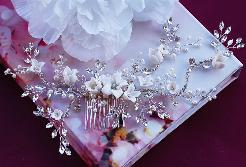 Bridal Wedding Headpiece Hair Comb Clip Party Head Piece Wreath Floral Vine Crystal Jewelry Brides Accessories Hairpiece Weddings Pageant