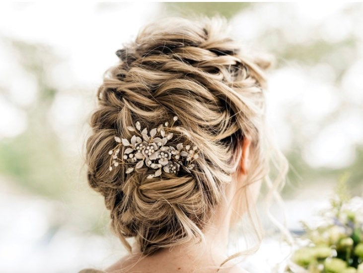 Gold Wedding Hair Comb Or Pin With Beautiful Flowers, Leaves & Rhinestone Accents, Silver & Rose