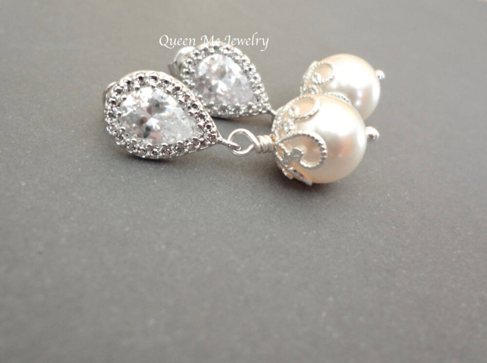 Dainty Pearl Drop Wedding Earrings For A Bride, Bridesmaids Mother Of The Bride Earrings, Sterling, Bridal Jewelry, Gift Her. Lacey