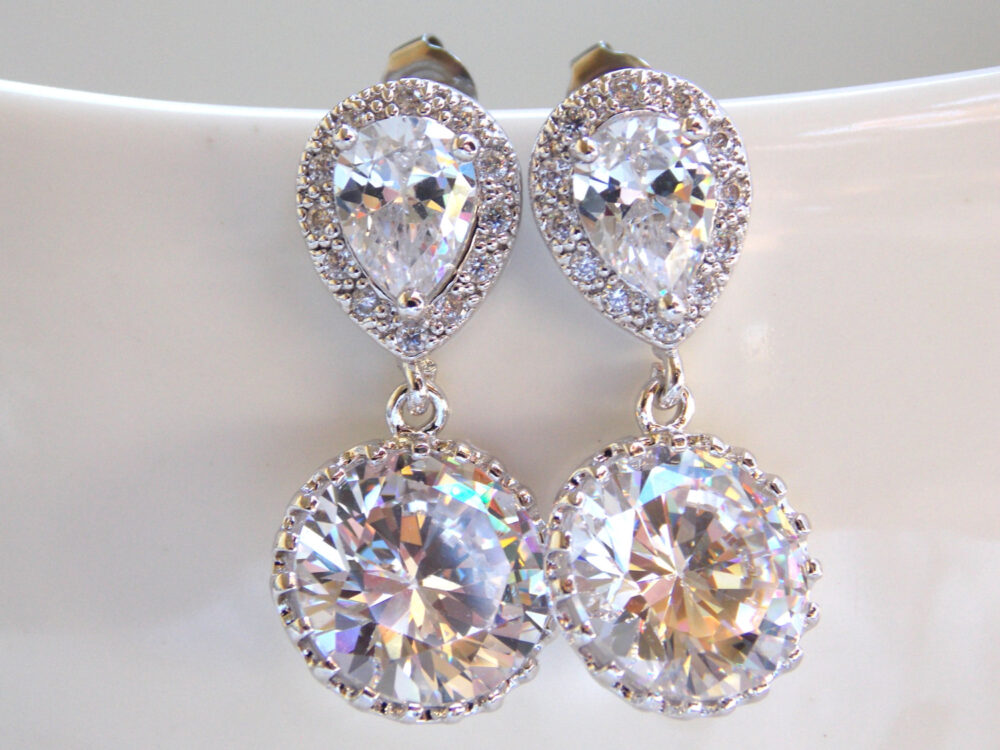 Wedding Jewelry, Silver, Cubic Zirconia Earrings, Bridal Crystal, Clear, Wedding Mother's Gift, Post, Dangle, Mother's Gift