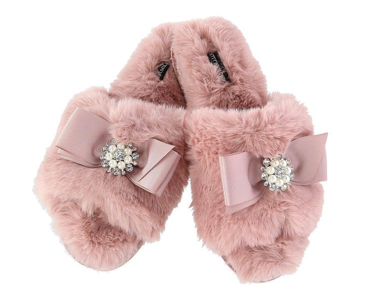 Women Slippers, Fluffy Bride Bridal Gift, Fuzzy, Bridesmaid Sleepover Favor, Vintage Glamor, Retro, Free Shipping