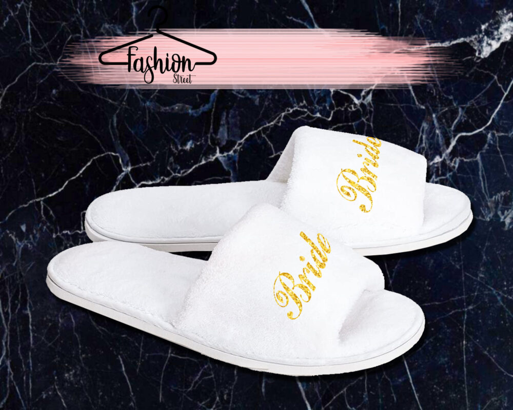 Personalized Spa Slippers House Wear Open Toe White Bride Bridesmaid Gift For Her Wedding