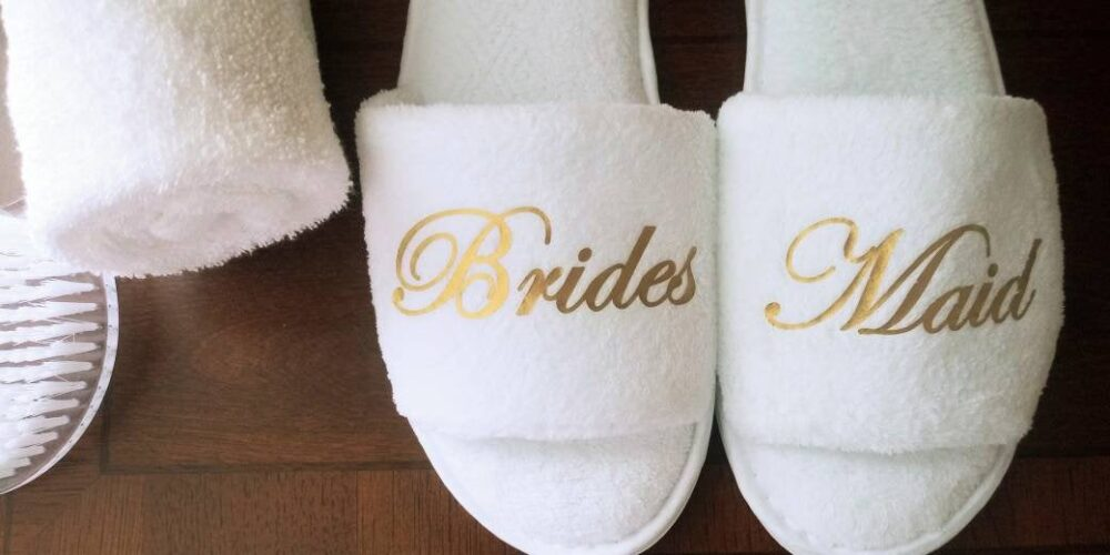 Bridesmaid Slippers - Bride Bridal Party -Rose Gold Or Font