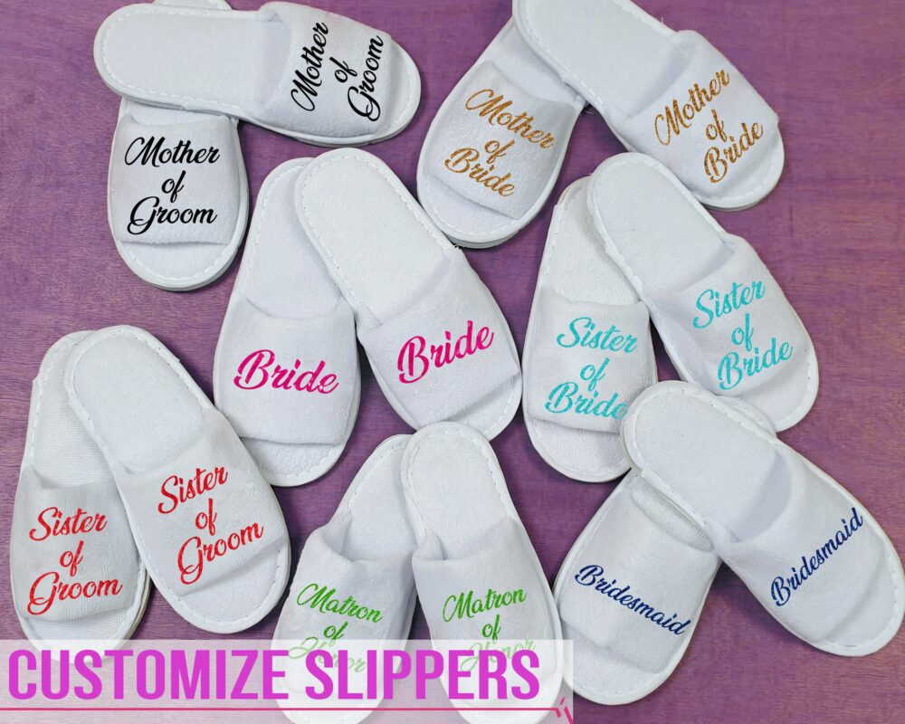 Open Toe Slippers Customized Spa House Wear Bride Bridesmaid Gift For Her Wedding