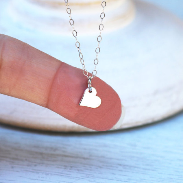 Tiny Heart Necklace, Sterling Silver Pendant, Gift For Flower Girl, Dainty Wedding