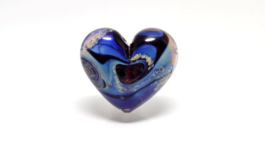 Blue Heart Jewelry Romantic Bead Wedding Making Glass Sea Shaped Necklace Artisan Lampwork Color