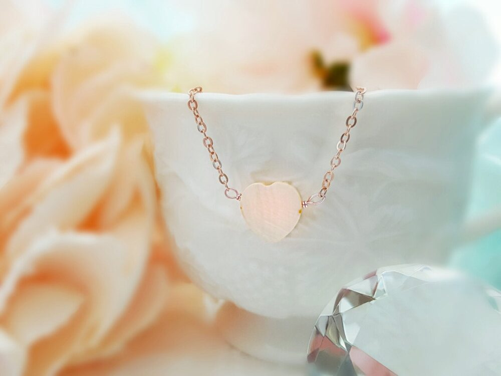 Pink Heart Necklace, Peach Mother Of Pearl Pendant, Rose Gold Blush Shell Heart, Small Layered Necklace, Romantic Bridal Jewelry Gifts N4201