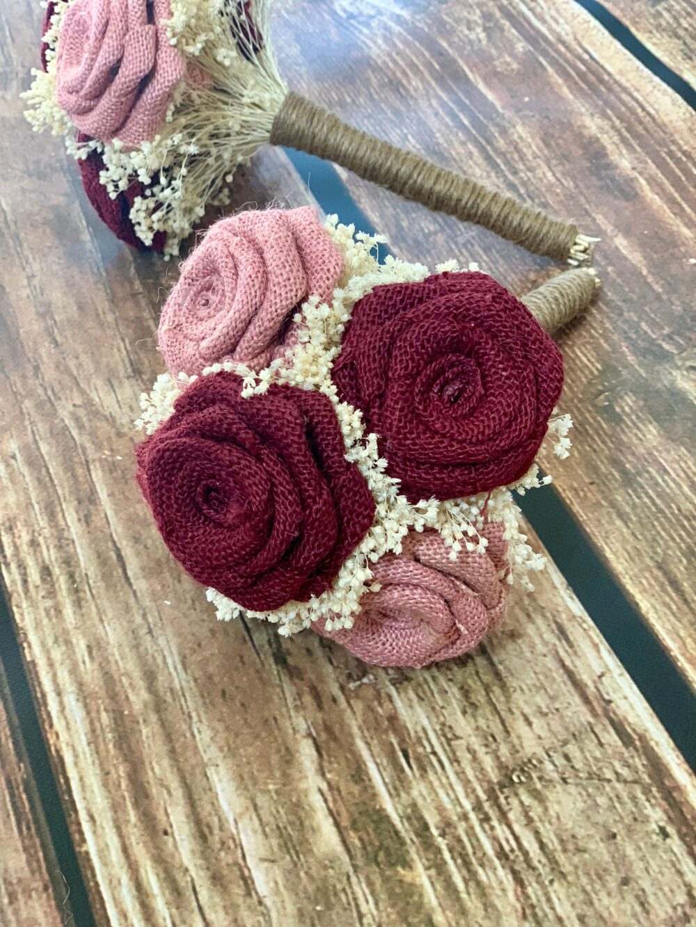 Rustic Burgundy & Blush Wedding Bouquet | Choose Size Burlap Bouquet, Dusty Rose