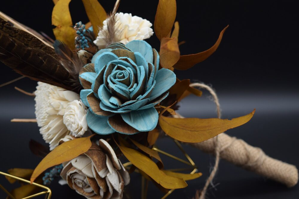 Feather Bouquet, Sola Flower Wedding Rustic Flowers, Burlap, Teal Flowers
