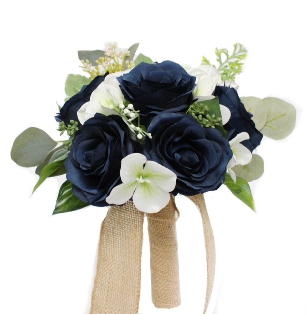Navy Blue Rustic Burlap Wedding Bouquet With Greenery Fillers