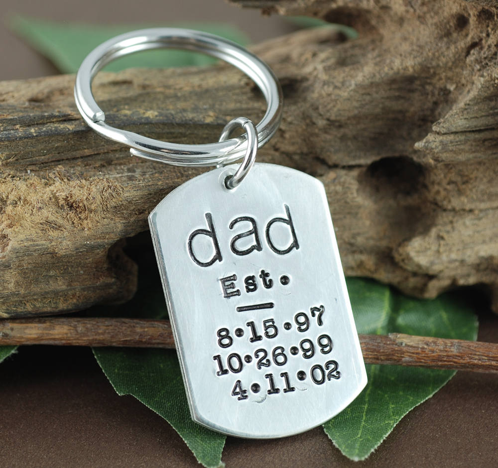Est Dad Keychain, Keychain For Dad, Personalized Key Chain For Gift Father's Day Gift, Daddy