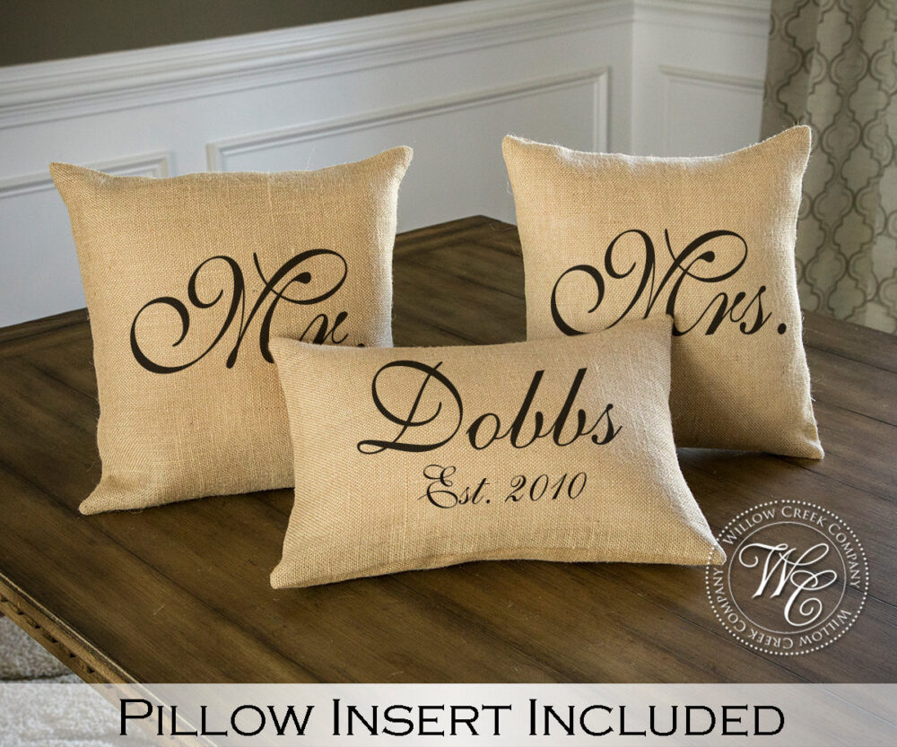 Mr & Mrs Pillow Sets, 3 Wedding Pillows Set Custom Monogrammed With Last Name & Established Date