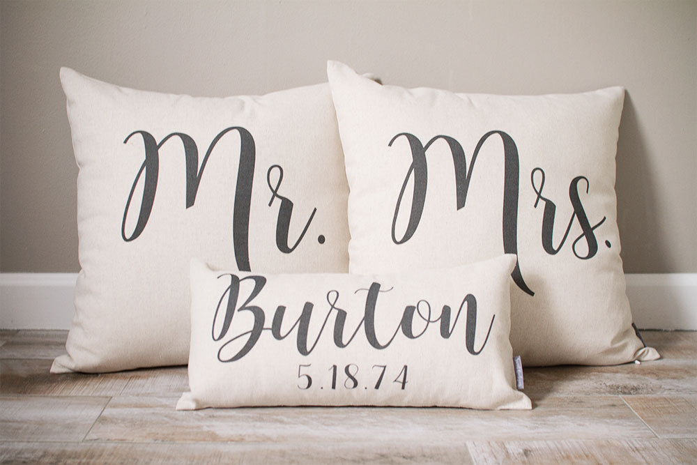 Mr & Mrs Pillow Sets | 3 Wedding Pillows Set Custom Monogrammed With Last Name & Established Date