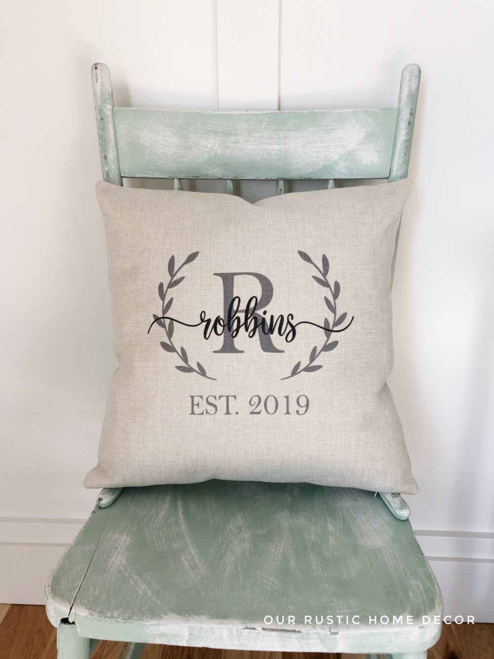 Farmhouse Monogram Pillow Covers - Wedding Gift Pillows With Personalized Name & Established Date Custom Throw Rustic Decor
