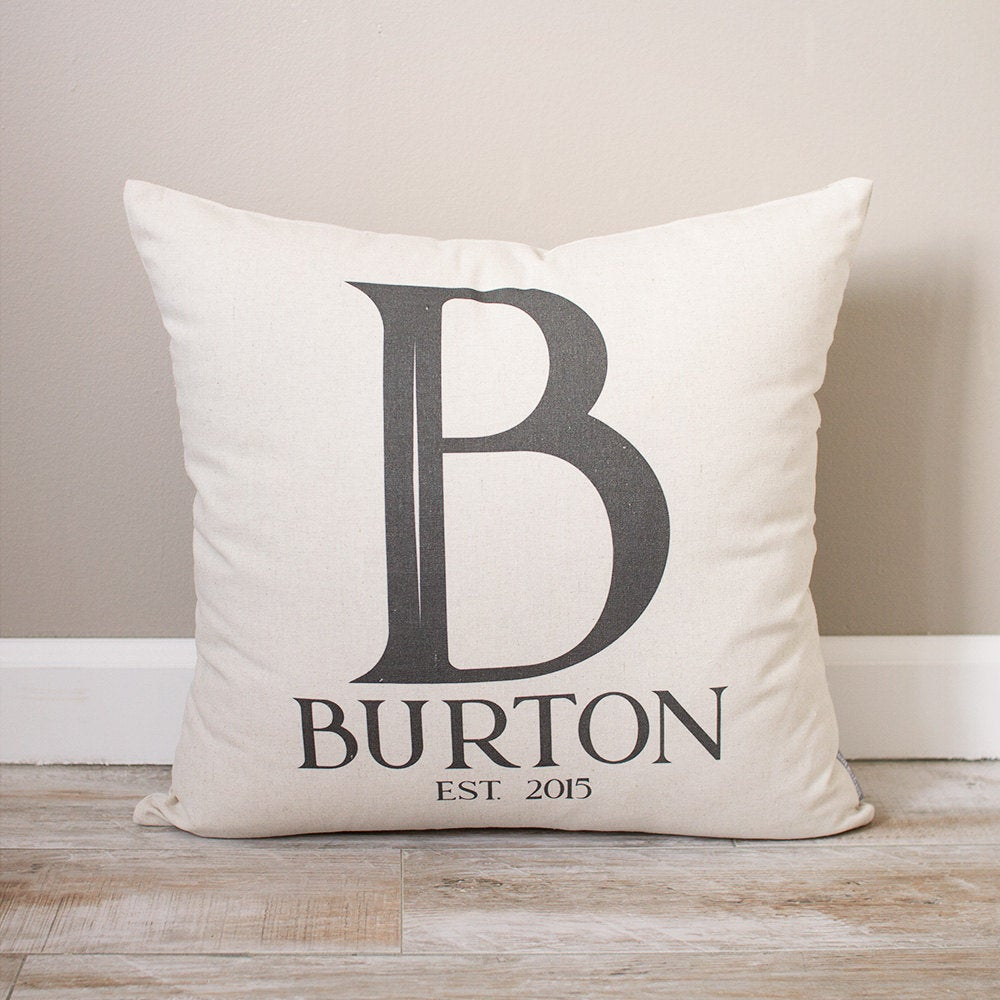 Last Name Pillow | Wedding Gift For Couples Monogrammed Personalized Initial With