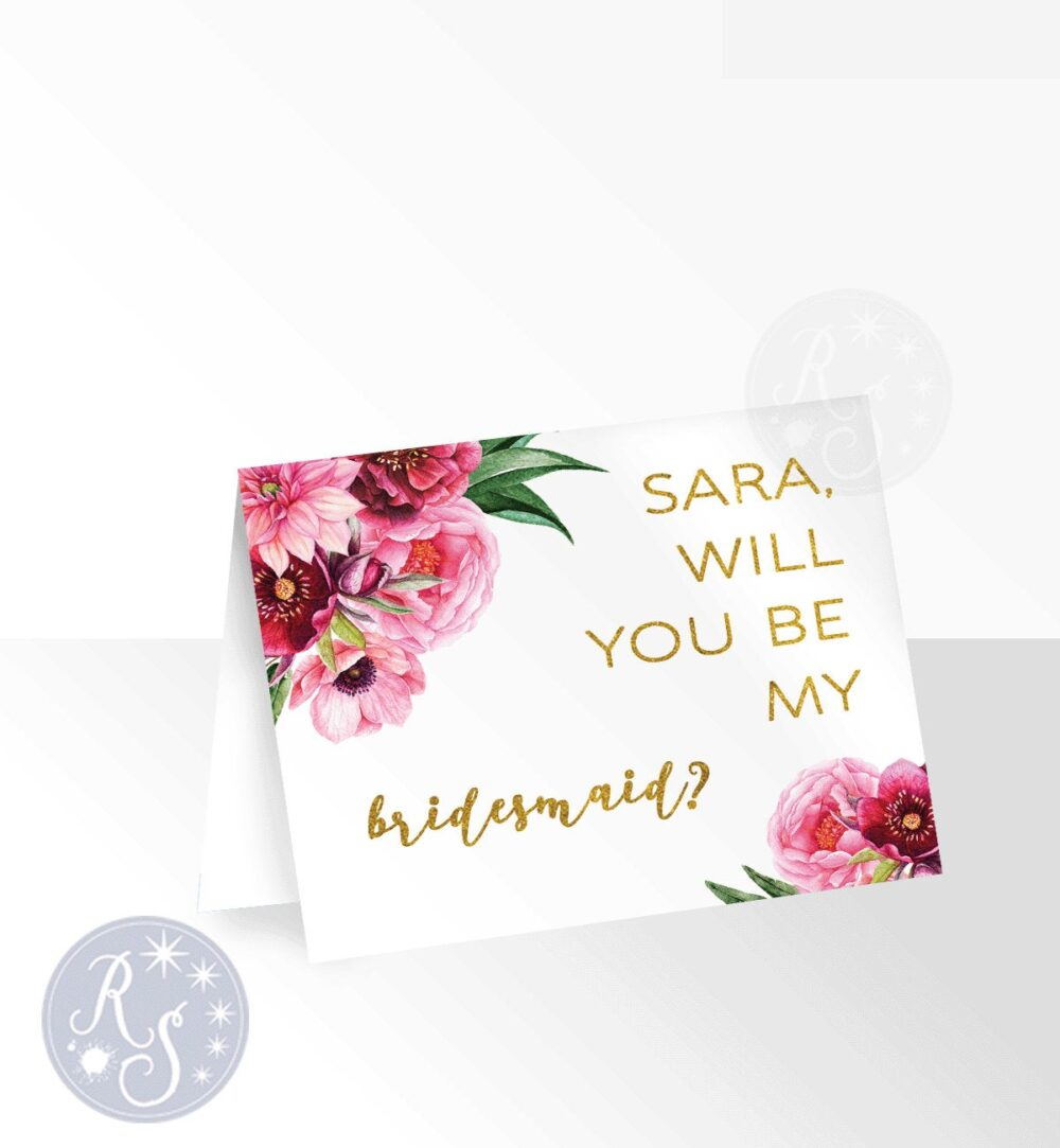 Winter Wedding Bridesmaid Proposal Card, Gold Burgundy Red Rose Watercolor Flowers