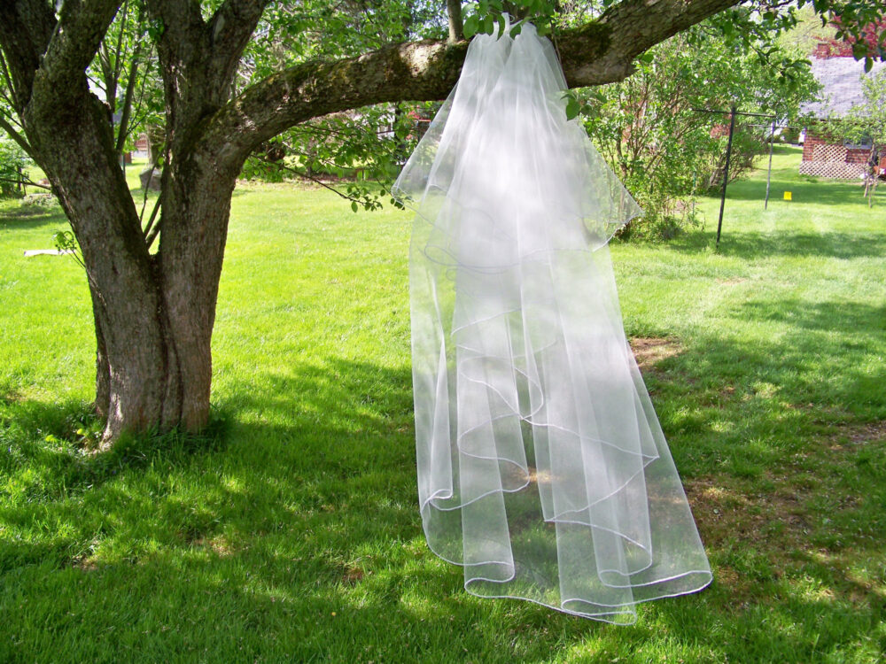Custom Chapel Length Wedding Veil Made To Order Blusher 2 Tier Silver Pencil Edge