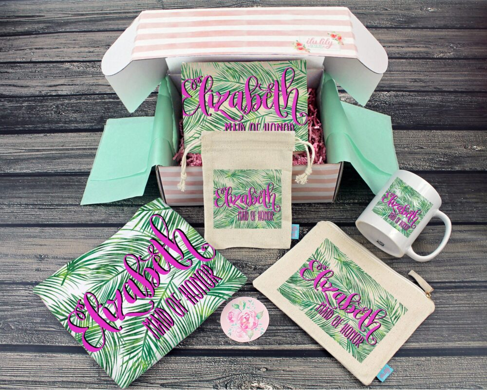 Bridesmaid Proposal Box - Personalized Gift - Will You Be My Maid Of Honor Ideas Palms