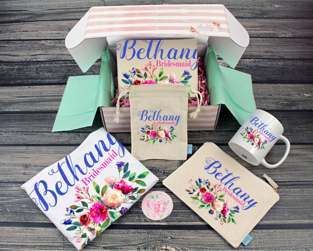 Bridesmaid Proposal Box - Personalized Gift - Will You Be My Maid Of Honor Ideas- Flowers