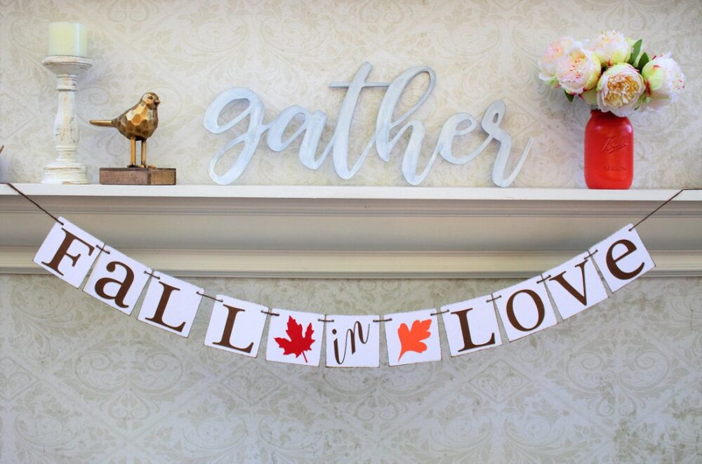 Fall Wedding Decor, Fall Engaged Signs, in Love Banners, Leaves Are Falling, Wedding Shower Decorations, Ideas