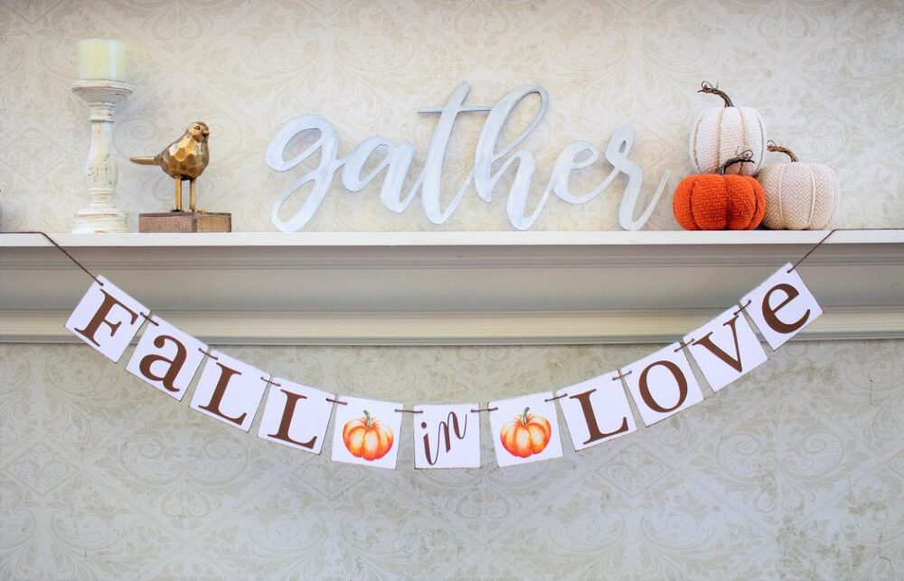 Fall Wedding Decor, Fall Engaged Signs, in Love Banners, Pumpkin Theme, Wedding Shower Decorations, October Ideas