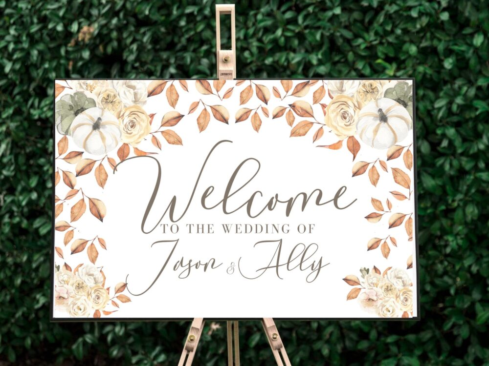 Fall Wedding Decor, Wedding Sign, Welcome Sign, Bridal Poster