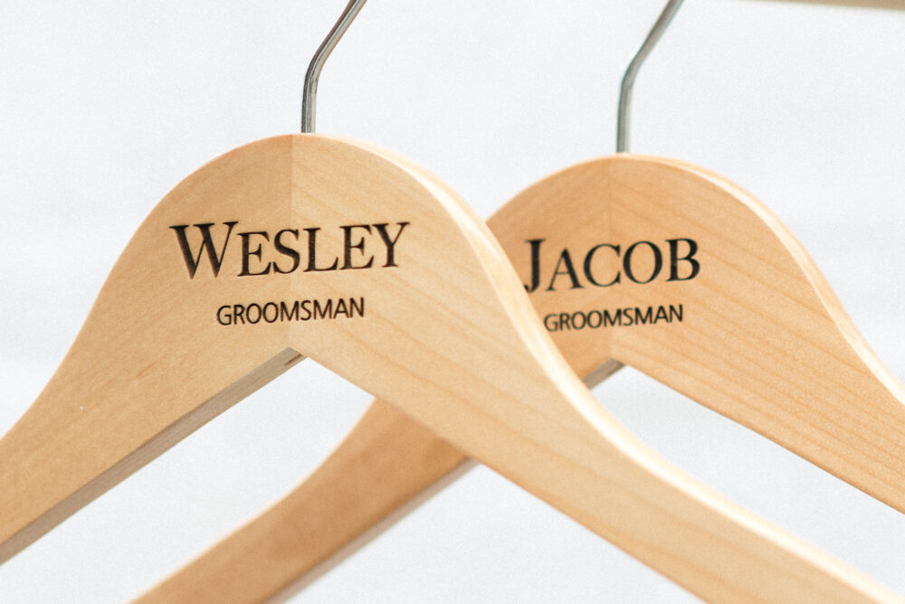 Personalized Groomsman Hangers - Wedding Hanger Wooden Engraved Groom Suit Name Hg108
