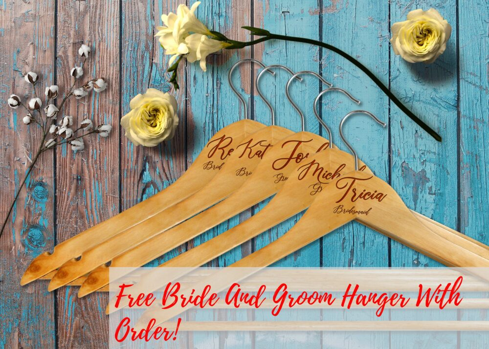 10 Personalized Wedding Party Hangers | Custom Bridesmaid & Groomsmen Wooden Engraved Hanger Bride & Groom