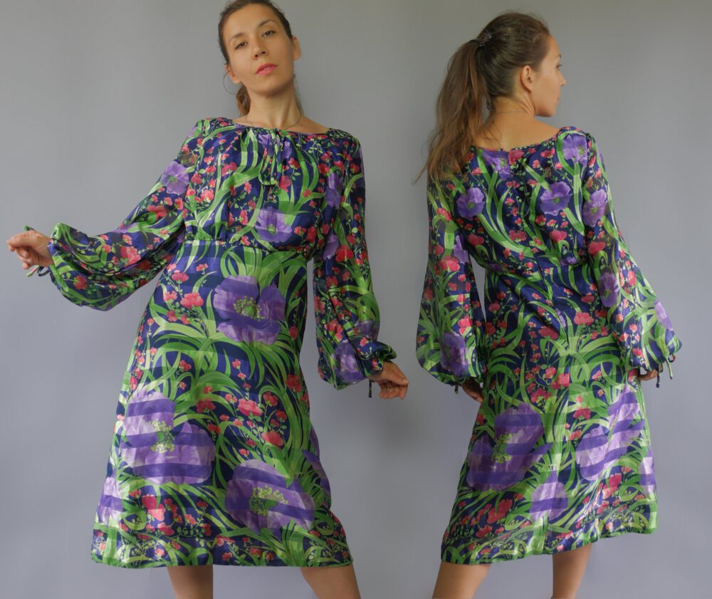 Bright Purple Green Event Dress Floral Print Empire Waist Balloon Long Sheer Sleeves Knee Length