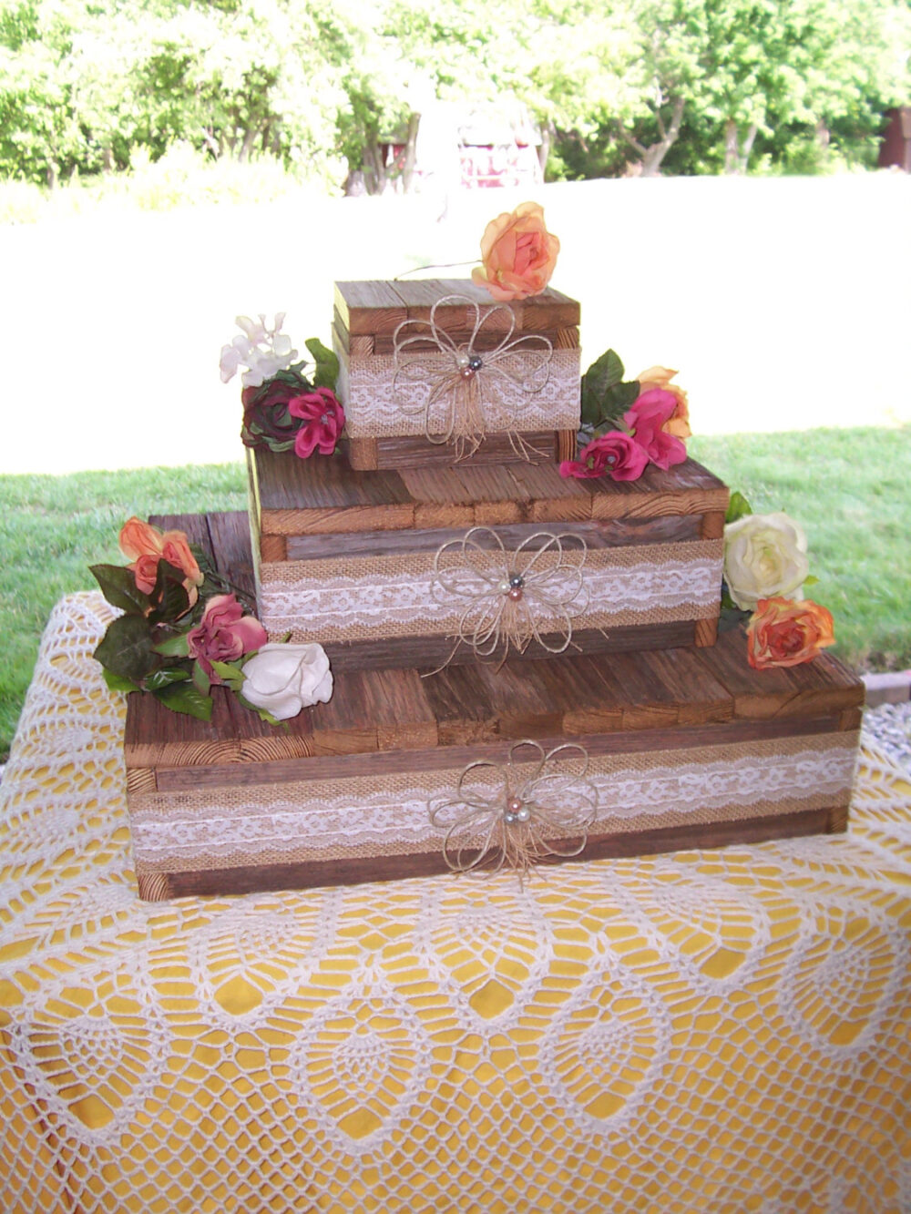 Wedding Cake Stand Reception Decorations Cupcake Stands 3 Tier Rustic Wood Burlap Lace Reception Reclaimed Vintage Wedding Country