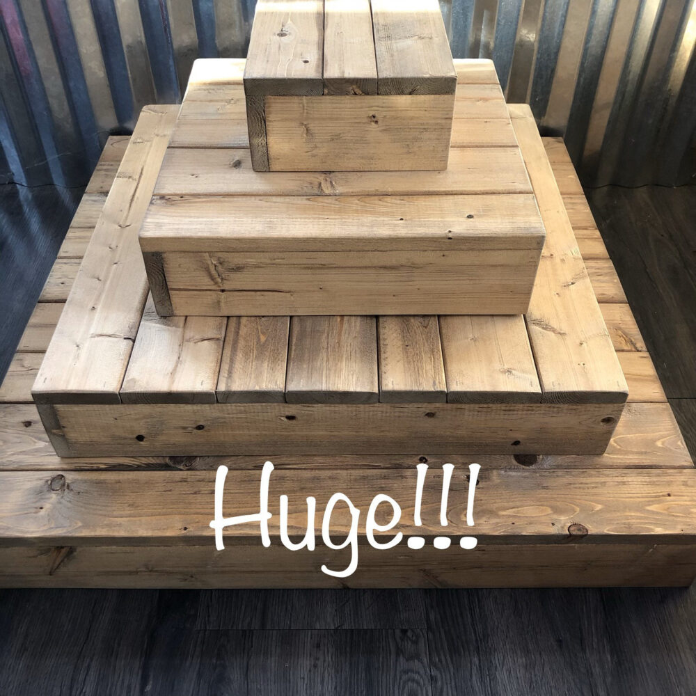 Large Wood Wedding Cupcake Stand, Big, Rustic, 4 Tier, Wooden, Dessert Table, Display
