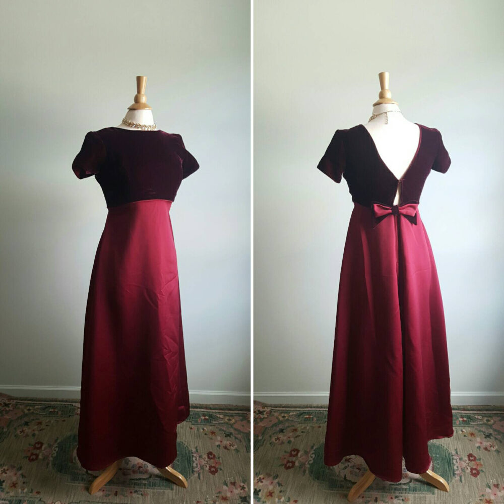 Vintage 1990S Does 1960S Crimson Party Dress, Wine Velvet Empire Bodice, Sateen Full Skirt, A-Line Fit & Flare, Formal Evening Gown; Small
