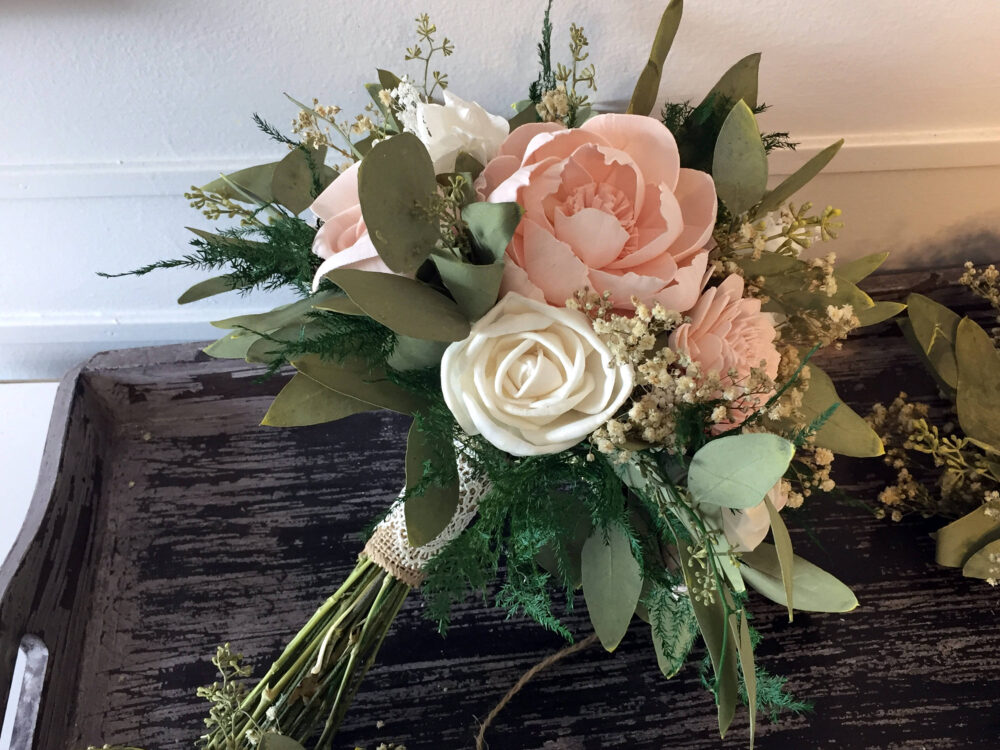 Blush Wedding Bouquet Made With Sola Flowers - Choose Your Colors Custom Alternative Bridal Bouquet Bridesmaids