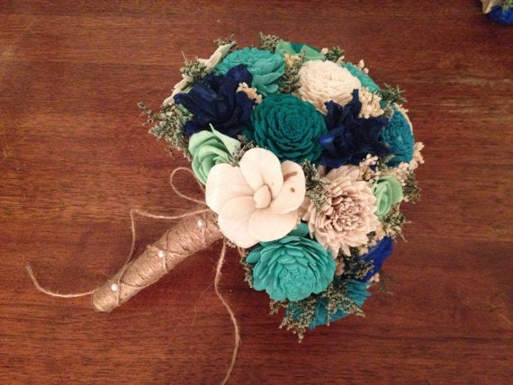 Teal, Aqua & Mint Wedding Bouquet Made With Sola Flowers - Customize Colors Bridal Bouquet Alternative Bridesmaids