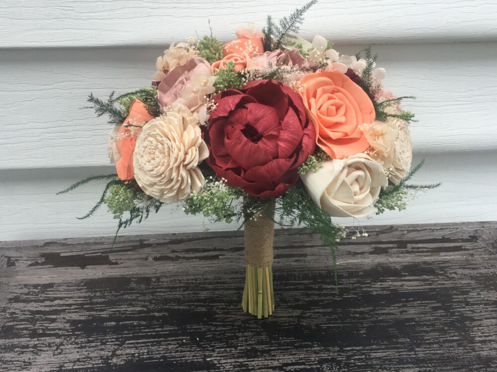 Burgundy, Coral, Blush Wedding Bouquet Made With Sola Flowers - Choose Colors Custom Alternative Bridal Bouquet Bridesmaids